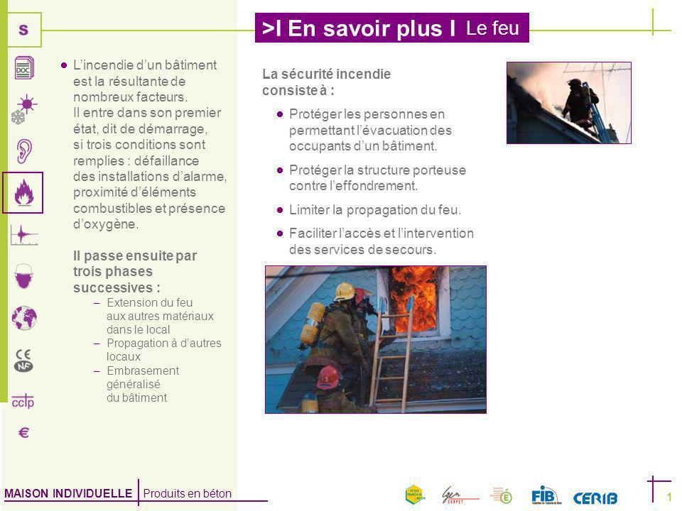 MAISON INDIVIDUELLE Produits en béton >I En savoir plus I Le feu 1 La sécurité incendie consiste à : Protéger les personnes en permettant lévacuation des occupants dun bâtiment.