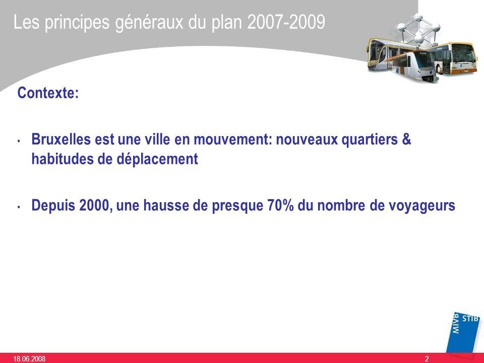 218.06.2008 Les principes généraux du plan 2007-2009 Contexte: Bruxelles est une ville en mouvement: nouveaux quartiers & habitudes de déplacement Dep