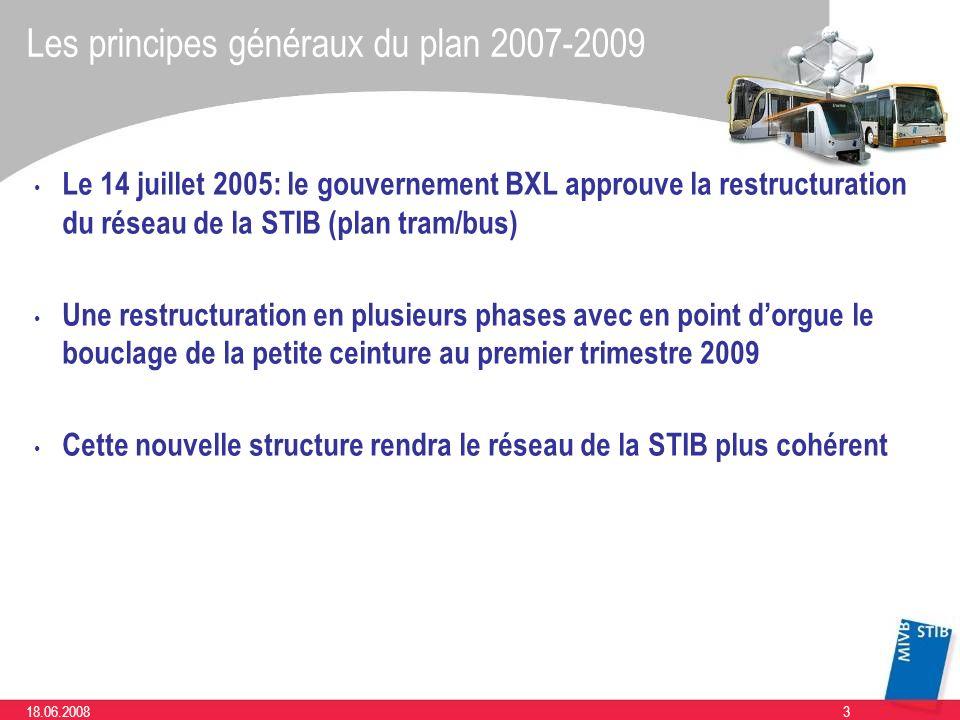 318.06.2008 Les principes généraux du plan 2007-2009 Le 14 juillet 2005: le gouvernement BXL approuve la restructuration du réseau de la STIB (plan tr