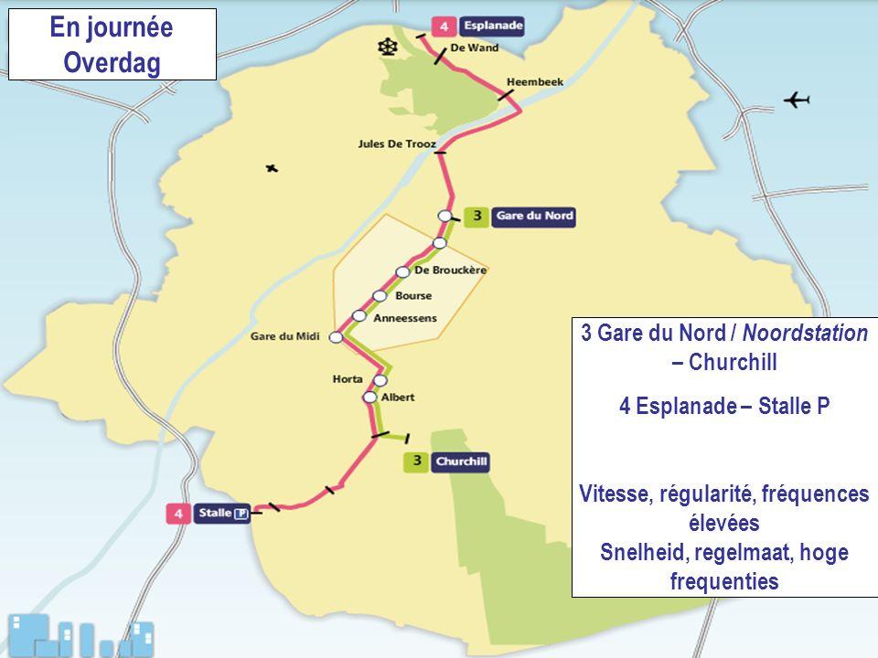 718.06.2008 En journée Overdag 3 Gare du Nord / Noordstation – Churchill 4 Esplanade – Stalle P Vitesse, régularité, fréquences élevées Snelheid, rege