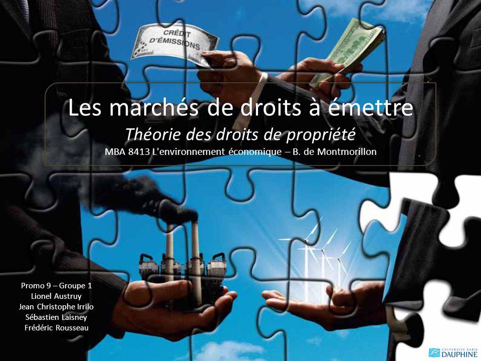 Promo 9 – Groupe 1 Lionel Austruy Jean Christophe Irrilo Sébastien Laisney Frédéric Rousseau Les marchés de droits à émettre Théorie des droits de propriété MBA 8413 L environnement économique – B.