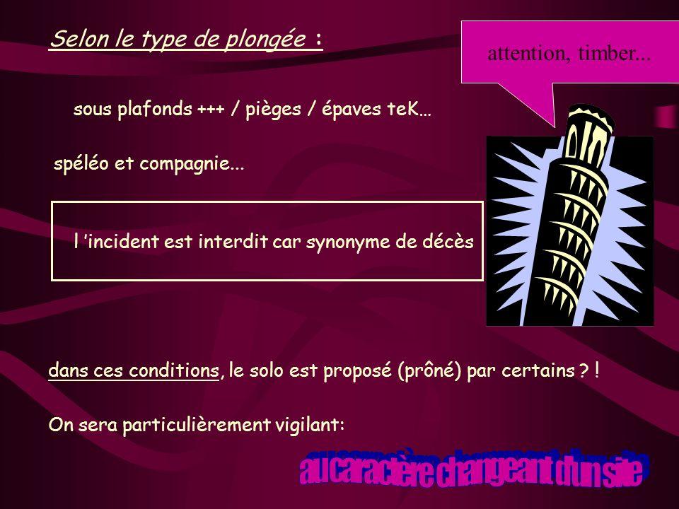 Selon le type de plongée : sous plafonds +++ / pièges / épaves teK… spéléo et compagnie... l incident est interdit car synonyme de décès dans ces cond