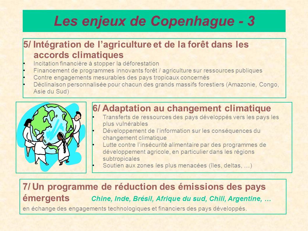 5/ Intégration de lagriculture et de la forêt dans les accords climatiques Incitation financière à stopper la déforestation Financement de programmes