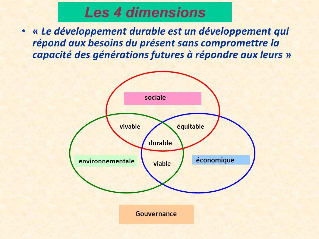 Les 4 dimensions « Le développement durable est un développement qui répond aux besoins du présent sans compromettre la capacité des générations futur
