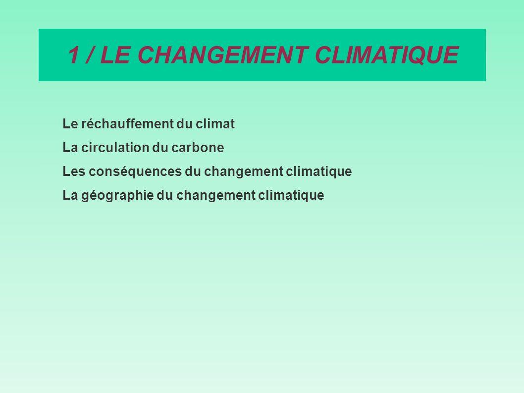 Le réchauffement du climat La circulation du carbone Les conséquences du changement climatique La géographie du changement climatique 1 / LE CHANGEMEN