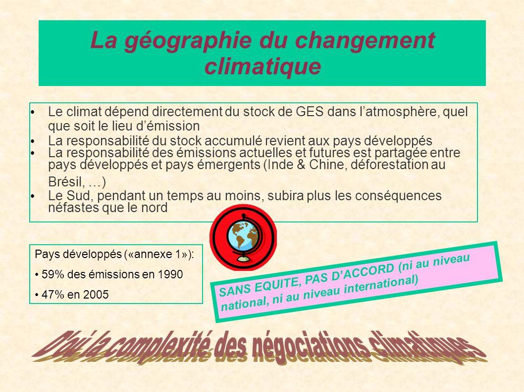 Le climat dépend directement du stock de GES dans latmosphère, quel que soit le lieu démission La responsabilité du stock accumulé revient aux pays dé
