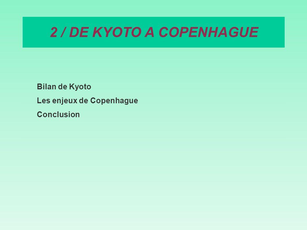 Bilan de Kyoto Les enjeux de Copenhague Conclusion 2 / DE KYOTO A COPENHAGUE