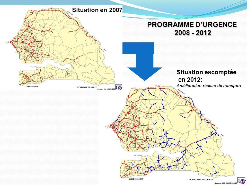 14 Situation en 2007 Situation escomptée en 2012: Amélioration réseau de transport PROGRAMME DURGENCE 2008 - 2012 2008 - 2012