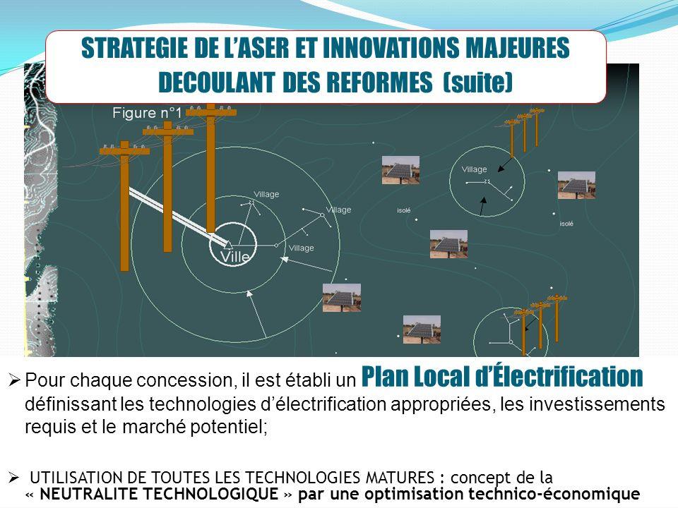 8 STRATEGIE DE LASER ET INNOVATIONS MAJEURES DECOULANT DES REFORMES (suite) Pour chaque concession, il est établi un Plan Local dÉlectrification définissant les technologies délectrification appropriées, les investissements requis et le marché potentiel; UTILISATION DE TOUTES LES TECHNOLOGIES MATURES : concept de la « NEUTRALITE TECHNOLOGIQUE » par une optimisation technico-économique