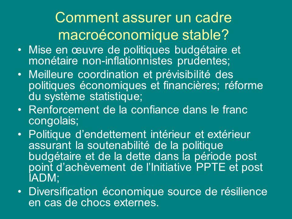 Comment assurer un cadre macroéconomique stable.