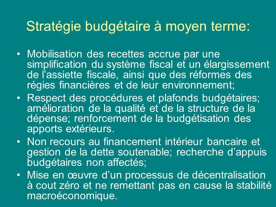 Stratégie budgétaire à moyen terme: Mobilisation des recettes accrue par une simplification du système fiscal et un élargissement de lassiette fiscale, ainsi que des réformes des régies financières et de leur environnement; Respect des procédures et plafonds budgétaires; amélioration de la qualité et de la structure de la dépense; renforcement de la budgétisation des apports extérieurs.