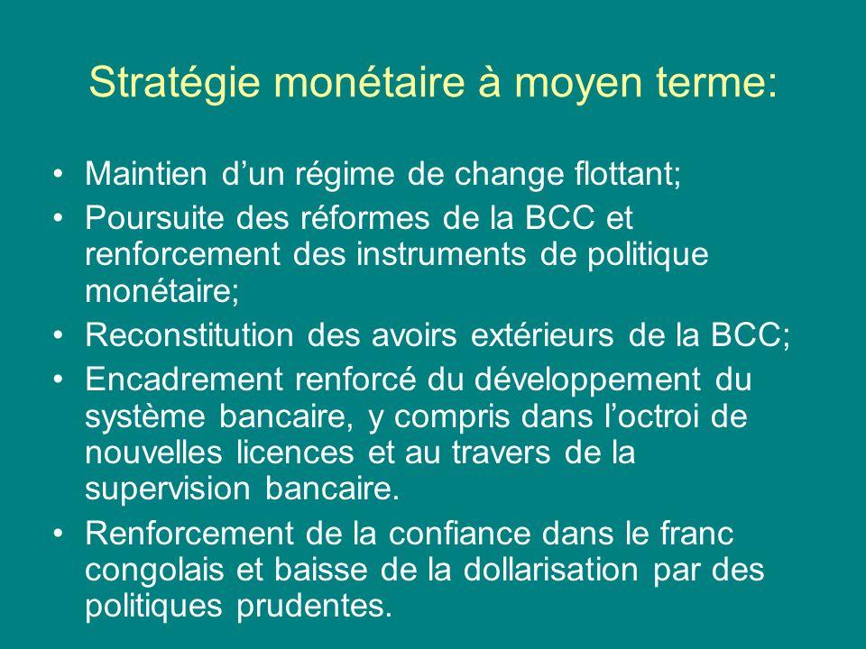 Stratégie monétaire à moyen terme: Maintien dun régime de change flottant; Poursuite des réformes de la BCC et renforcement des instruments de politique monétaire; Reconstitution des avoirs extérieurs de la BCC; Encadrement renforcé du développement du système bancaire, y compris dans loctroi de nouvelles licences et au travers de la supervision bancaire.