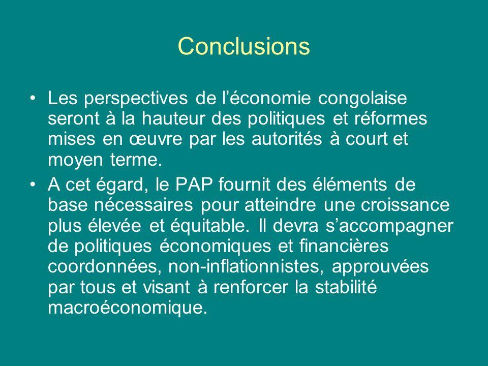 Conclusions Les perspectives de léconomie congolaise seront à la hauteur des politiques et réformes mises en œuvre par les autorités à court et moyen terme.