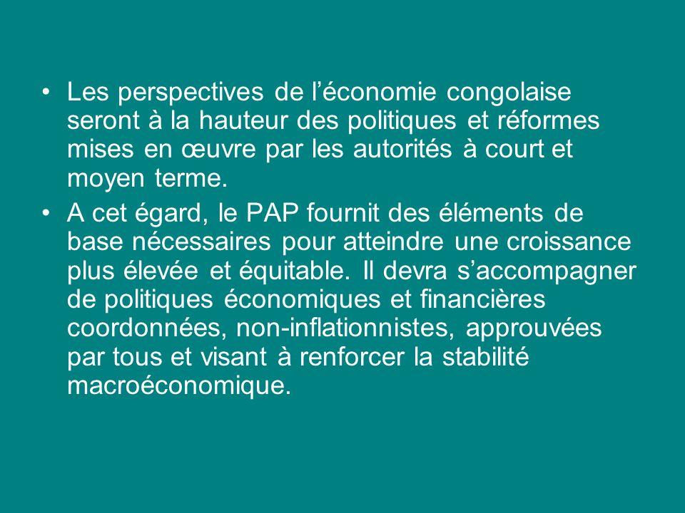 Les perspectives de léconomie congolaise seront à la hauteur des politiques et réformes mises en œuvre par les autorités à court et moyen terme.