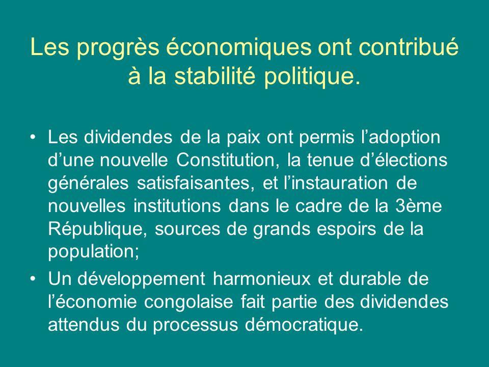 Les progrès économiques ont contribué à la stabilité politique.