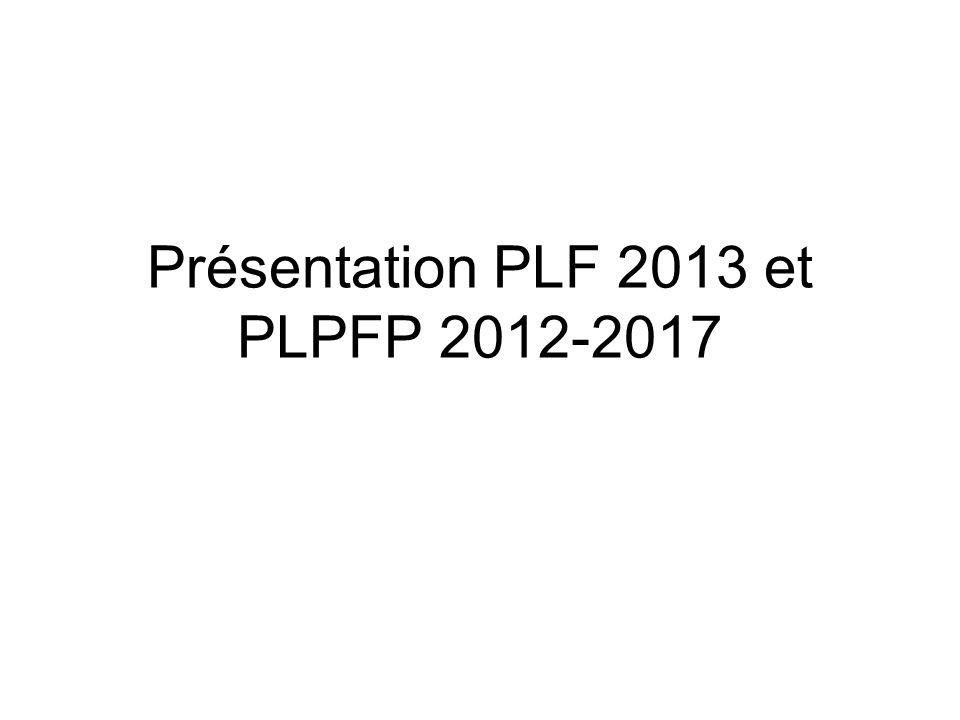 Présentation PLF 2013 et PLPFP 2012-2017
