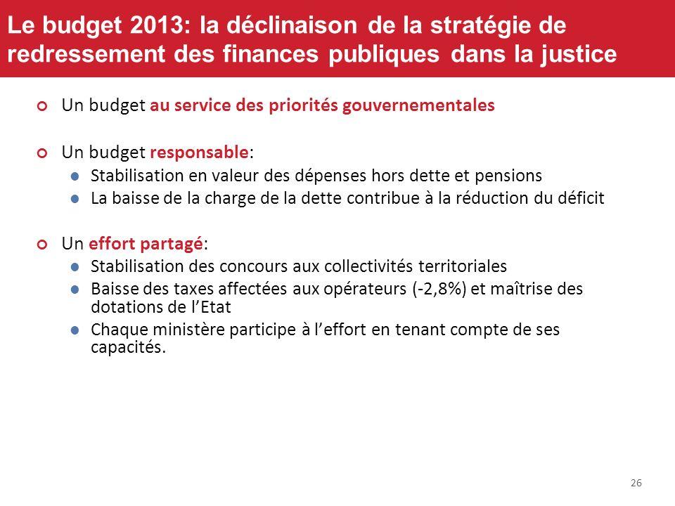 26 Le budget 2013: la déclinaison de la stratégie de redressement des finances publiques dans la justice Un budget au service des priorités gouverneme