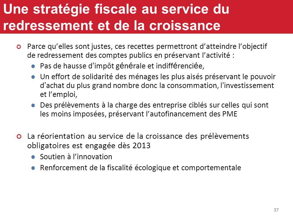 37 Une stratégie fiscale au service du redressement et de la croissance Parce quelles sont justes, ces recettes permettront datteindre lobjectif de re