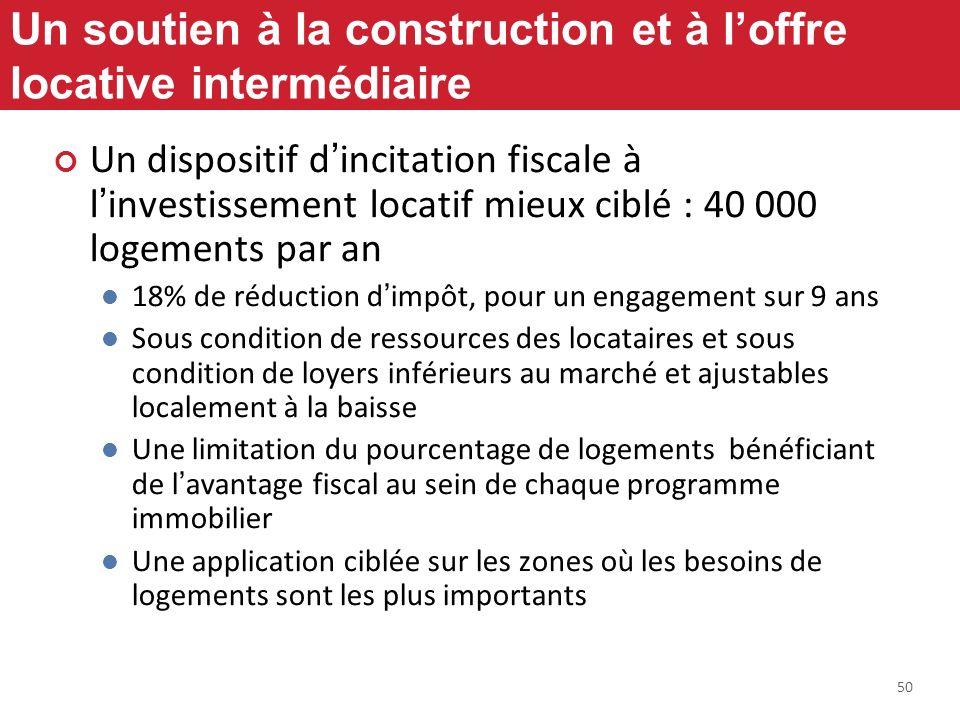 50 Un soutien à la construction et à loffre locative intermédiaire Un dispositif dincitation fiscale à linvestissement locatif mieux ciblé : 40 000 lo