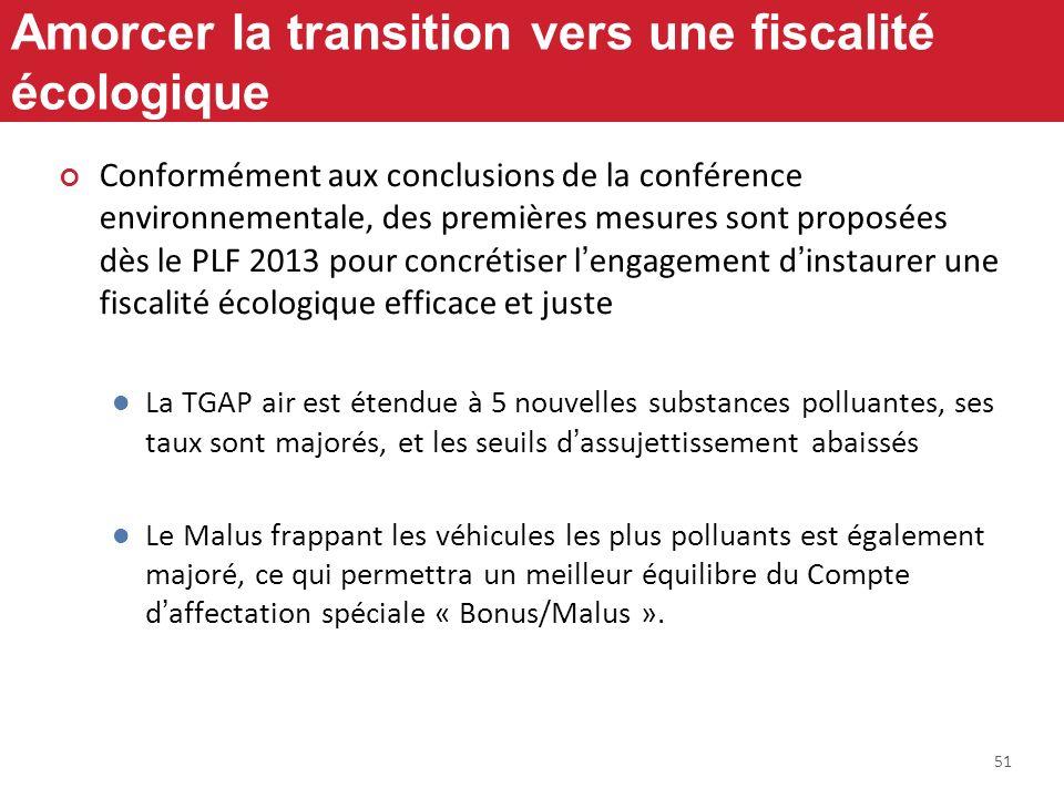 51 Amorcer la transition vers une fiscalité écologique Conformément aux conclusions de la conférence environnementale, des premières mesures sont prop