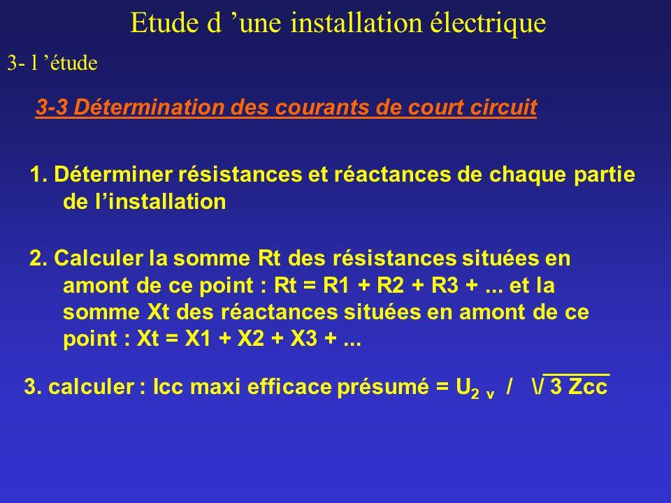 Etude d une installation électrique 3- l étude 3-3 Détermination des courants de court circuit 1. Déterminer résistances et réactances de chaque parti