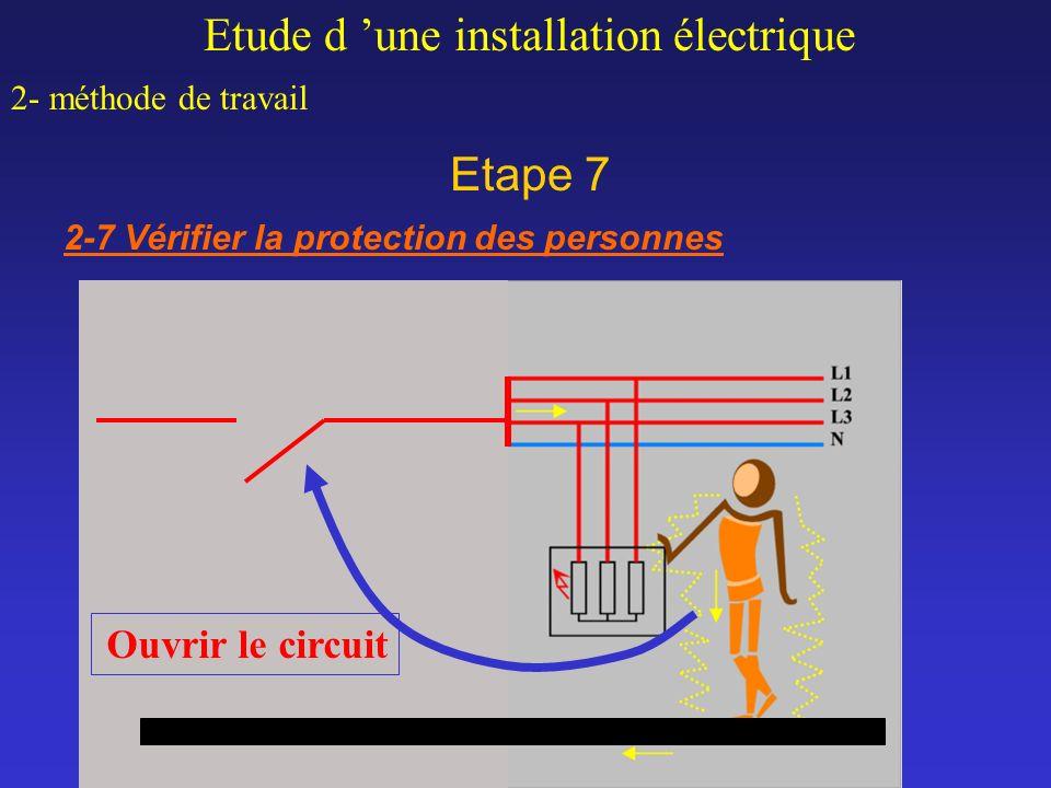 Etape 7 Etude d une installation électrique 2- méthode de travail 2-7 Vérifier la protection des personnes Ouvrir le circuit