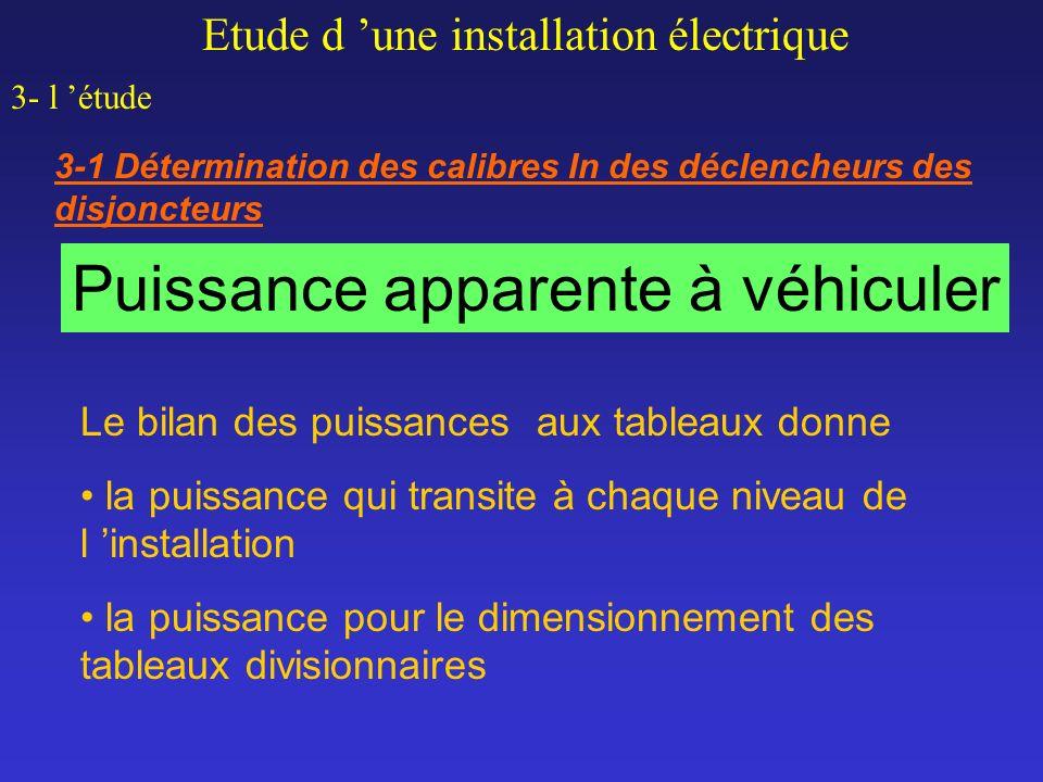 Etude d une installation électrique 3- l étude 3-1 Détermination des calibres In des déclencheurs des disjoncteurs Puissance apparente à véhiculer Le