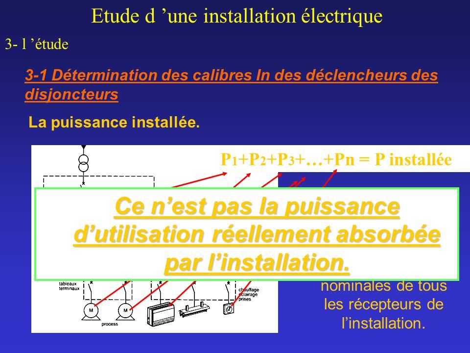 Etude d une installation électrique 3- l étude 3-1 Détermination des calibres In des déclencheurs des disjoncteurs P 1 +P 2 +P 3 +…+Pn = P installée L