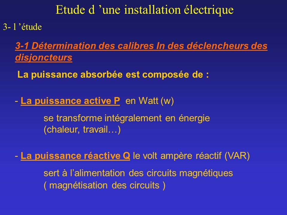 Etude d une installation électrique 3- l étude 3-1 Détermination des calibres In des déclencheurs des disjoncteurs La puissance absorbée est composée