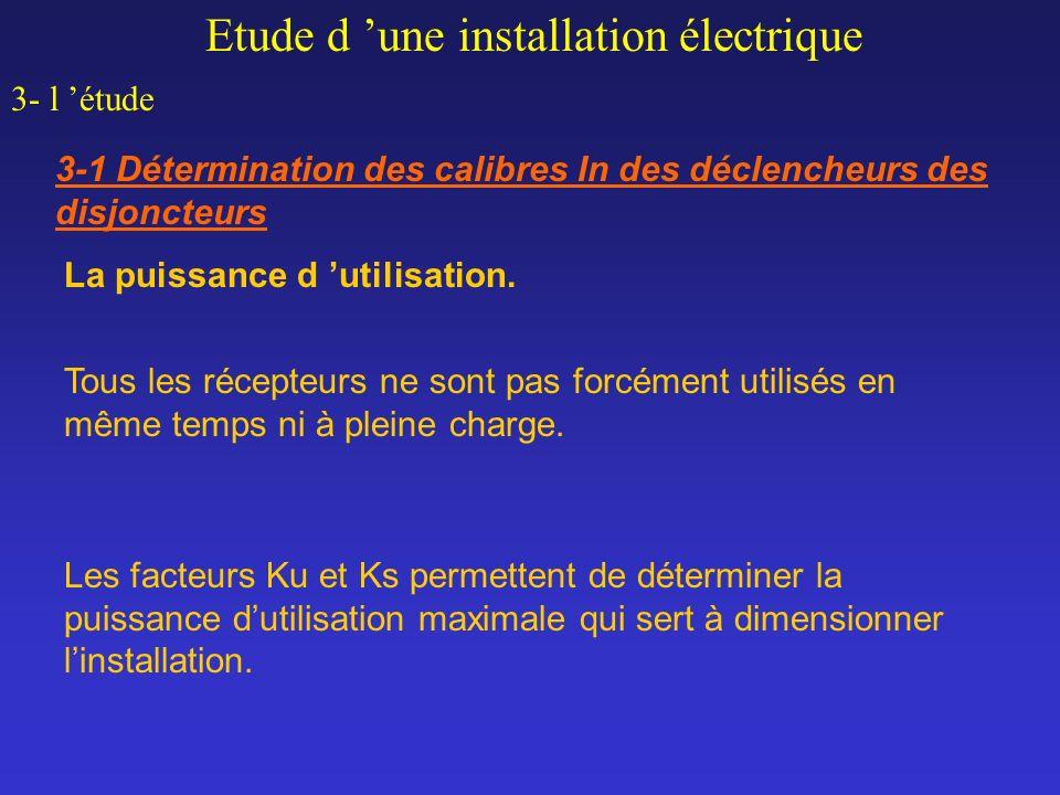 Etude d une installation électrique 3- l étude 3-1 Détermination des calibres In des déclencheurs des disjoncteurs La puissance d utilisation. Tous le