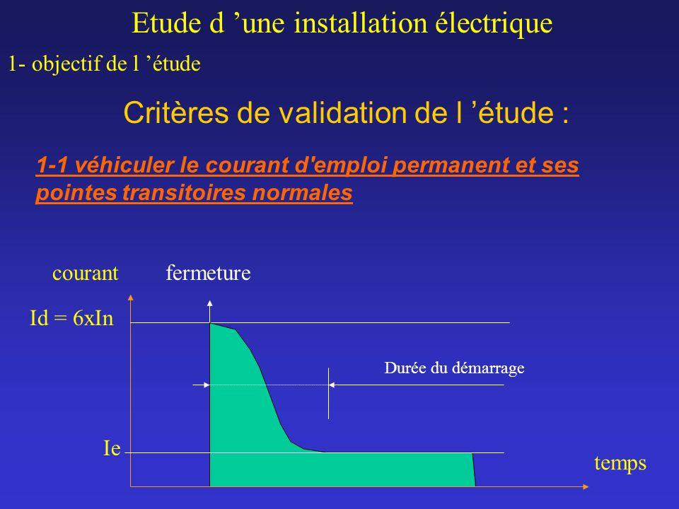 Critères de validation de l étude : Etude d une installation électrique 1- objectif de l étude 1-1 véhiculer le courant d'emploi permanent et ses poin