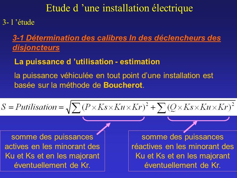 Etude d une installation électrique 3- l étude 3-1 Détermination des calibres In des déclencheurs des disjoncteurs La puissance d utilisation - estima