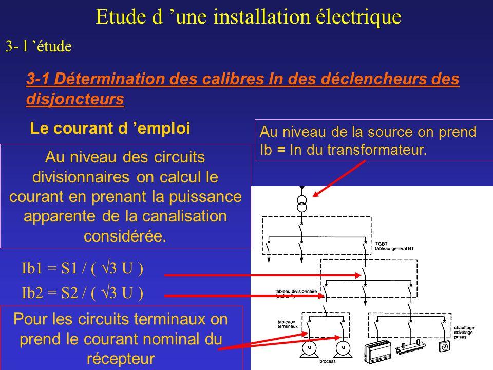 Le courant d emploi Etude d une installation électrique 3- l étude 3-1 Détermination des calibres In des déclencheurs des disjoncteurs Au niveau de la