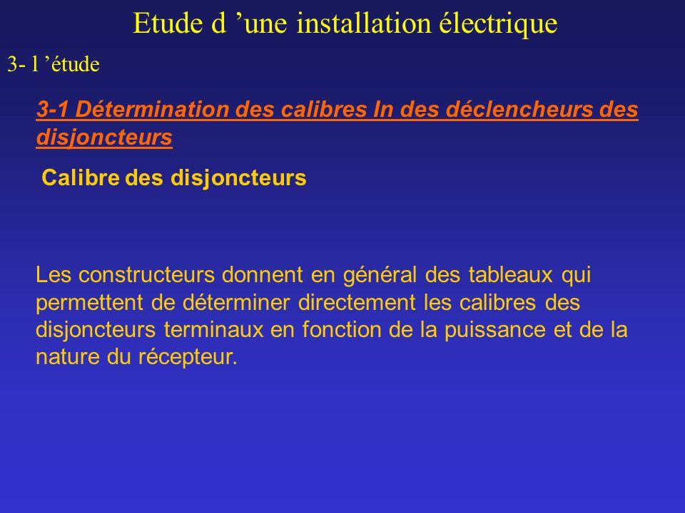 Calibre des disjoncteurs Etude d une installation électrique 3- l étude 3-1 Détermination des calibres In des déclencheurs des disjoncteurs Les constr