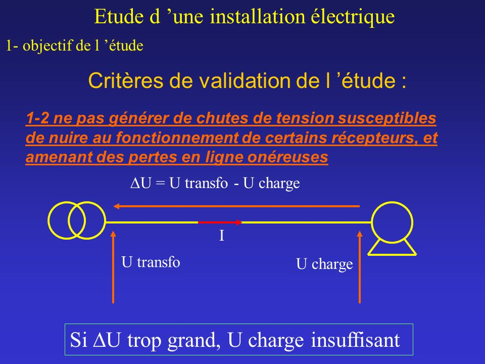 Critères de validation de l étude : Etude d une installation électrique 1- objectif de l étude 1-2 ne pas générer de chutes de tension susceptibles de