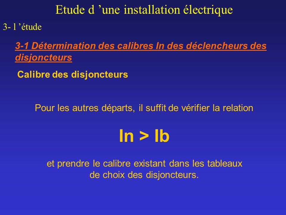 Calibre des disjoncteurs Etude d une installation électrique 3- l étude 3-1 Détermination des calibres In des déclencheurs des disjoncteurs Pour les a