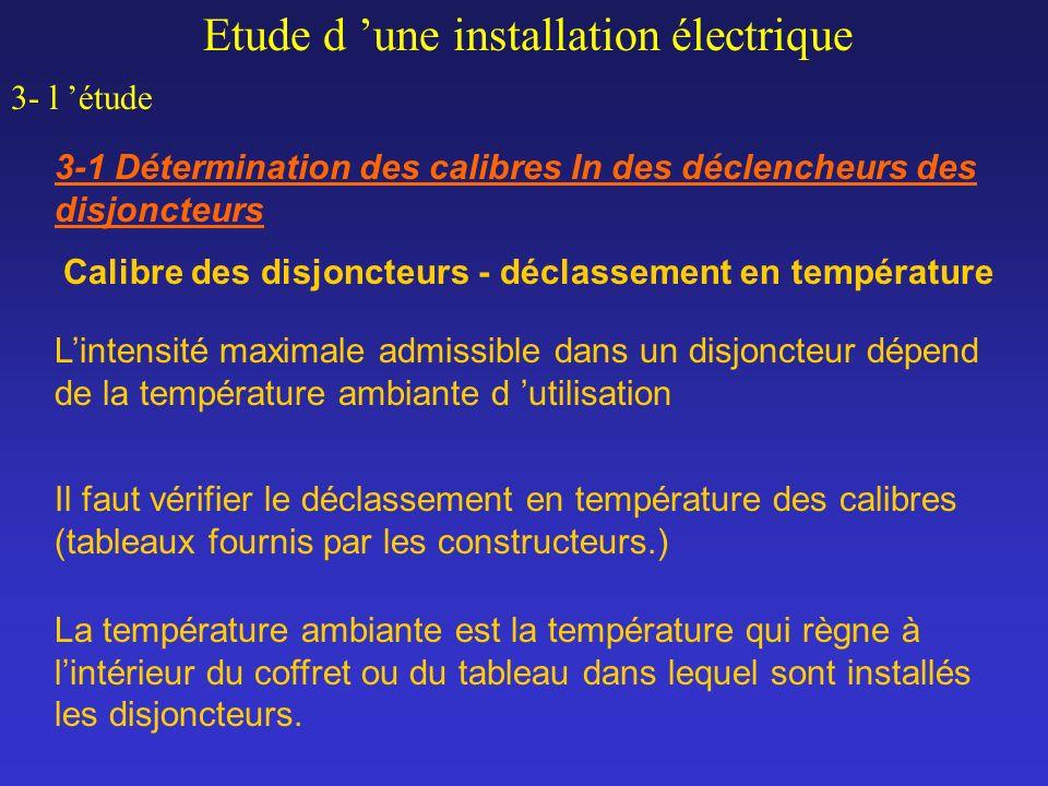 Calibre des disjoncteurs - déclassement en température Etude d une installation électrique 3- l étude 3-1 Détermination des calibres In des déclencheu