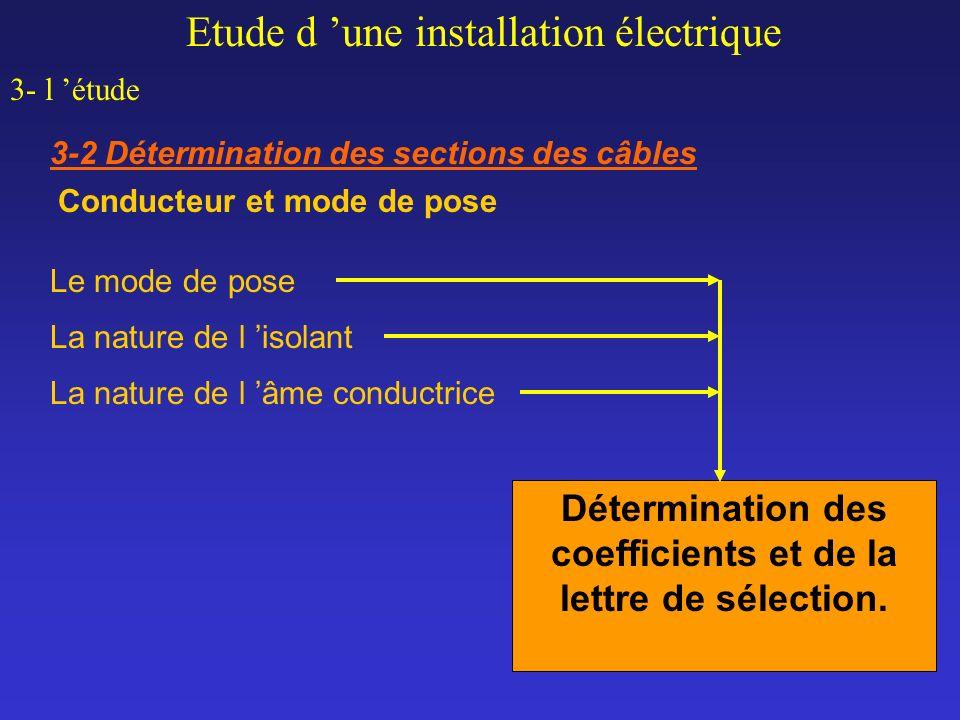 Etude d une installation électrique 3- l étude 3-2 Détermination des sections des câbles Conducteur et mode de pose Détermination des coefficients et