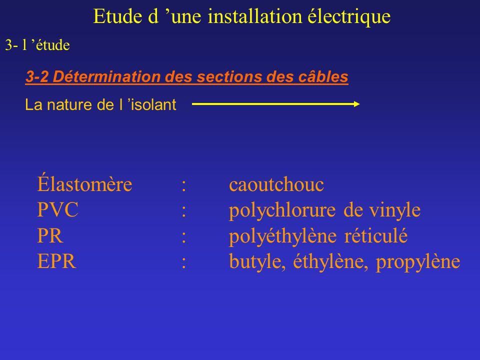 Etude d une installation électrique 3- l étude 3-2 Détermination des sections des câbles La nature de l isolant Élastomère:caoutchouc PVC :polychlorur