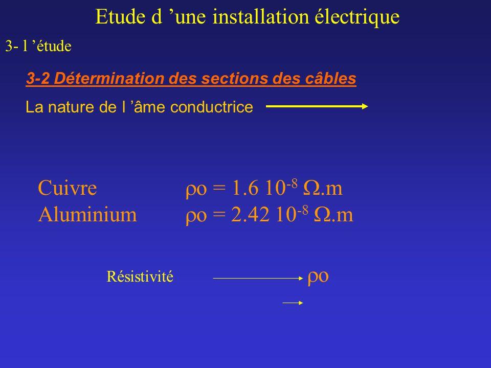 Etude d une installation électrique 3- l étude 3-2 Détermination des sections des câbles Cuivre o = 1.6 10 -8.m Aluminium o = 2.42 10 -8.m La nature d