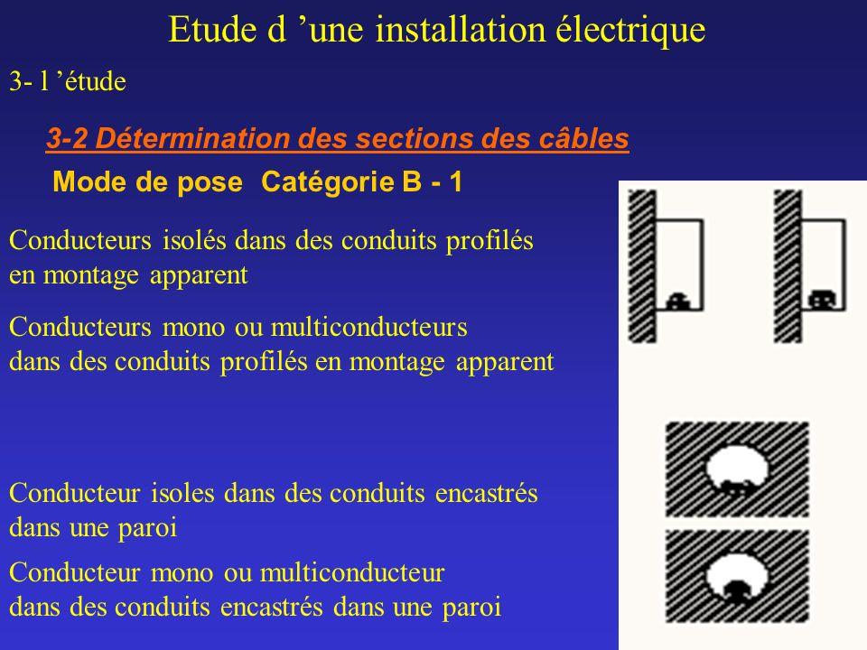 Etude d une installation électrique 3- l étude 3-2 Détermination des sections des câbles Mode de pose Catégorie B - 1 Conducteurs isolés dans des cond