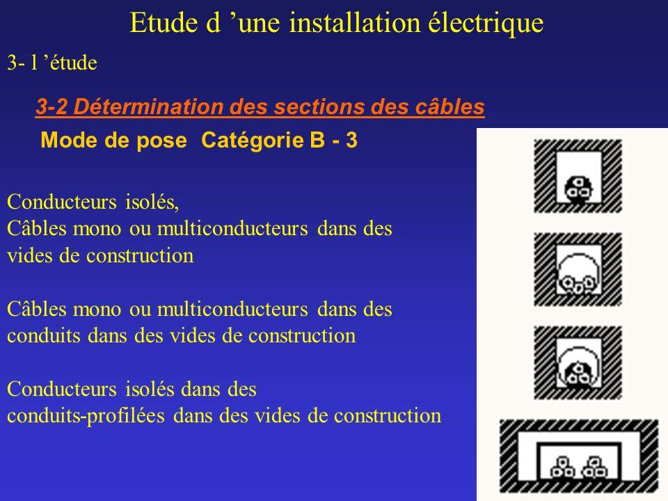Etude d une installation électrique 3- l étude 3-2 Détermination des sections des câbles Mode de pose Catégorie B - 3 Conducteurs isolés, Câbles mono