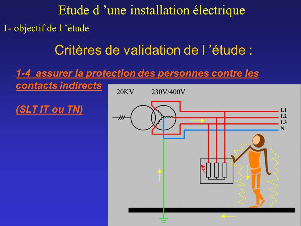 Critères de validation de l étude : Etude d une installation électrique 1- objectif de l étude 1-4 assurer la protection des personnes contre les cont