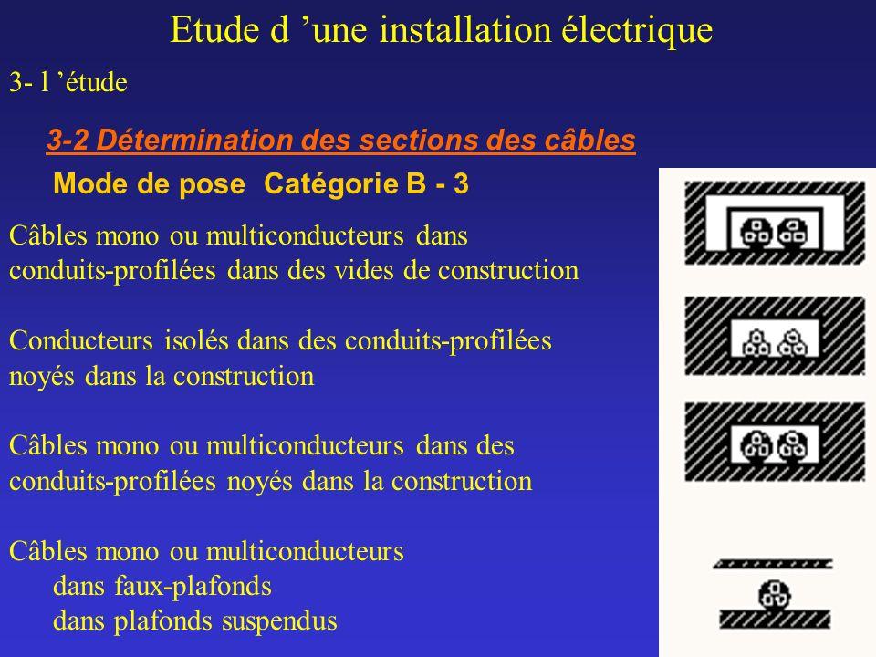 Etude d une installation électrique 3- l étude 3-2 Détermination des sections des câbles Mode de pose Catégorie B - 3 Câbles mono ou multiconducteurs