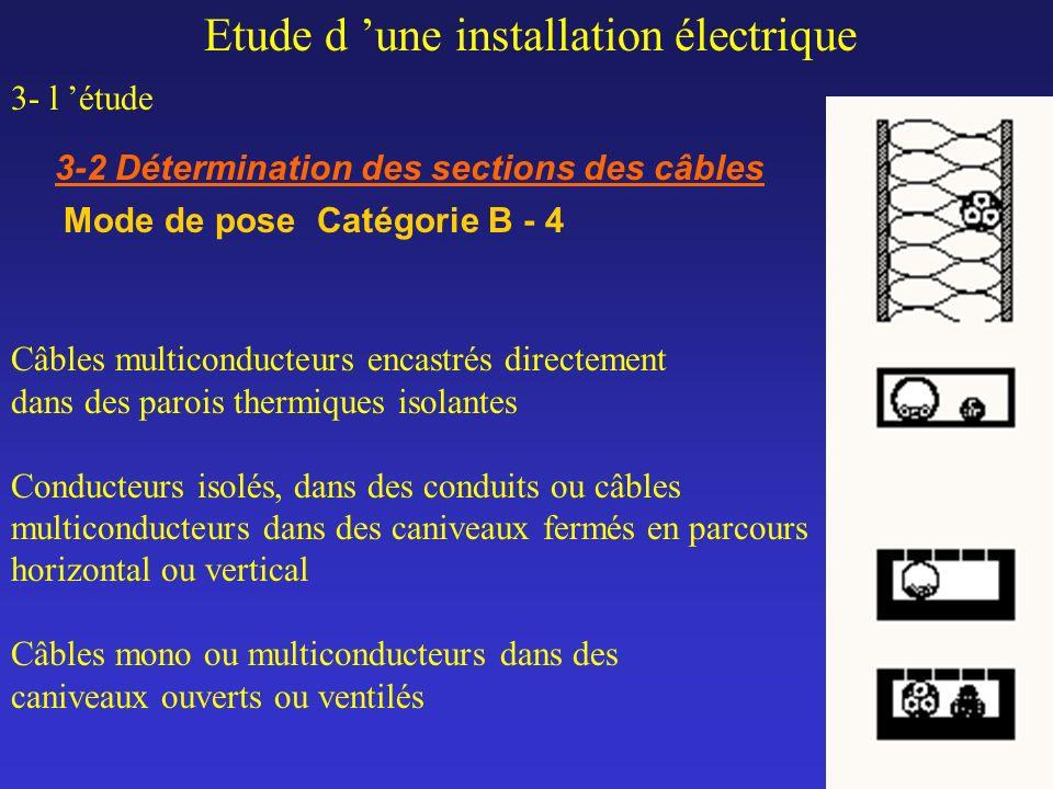 Etude d une installation électrique 3- l étude 3-2 Détermination des sections des câbles Mode de pose Catégorie B - 4 Câbles multiconducteurs encastré