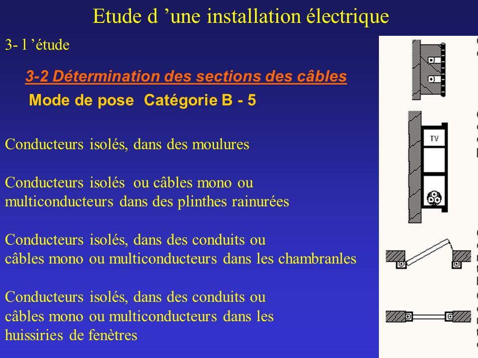 Etude d une installation électrique 3- l étude 3-2 Détermination des sections des câbles Mode de pose Catégorie B - 5 Conducteurs isolés, dans des mou