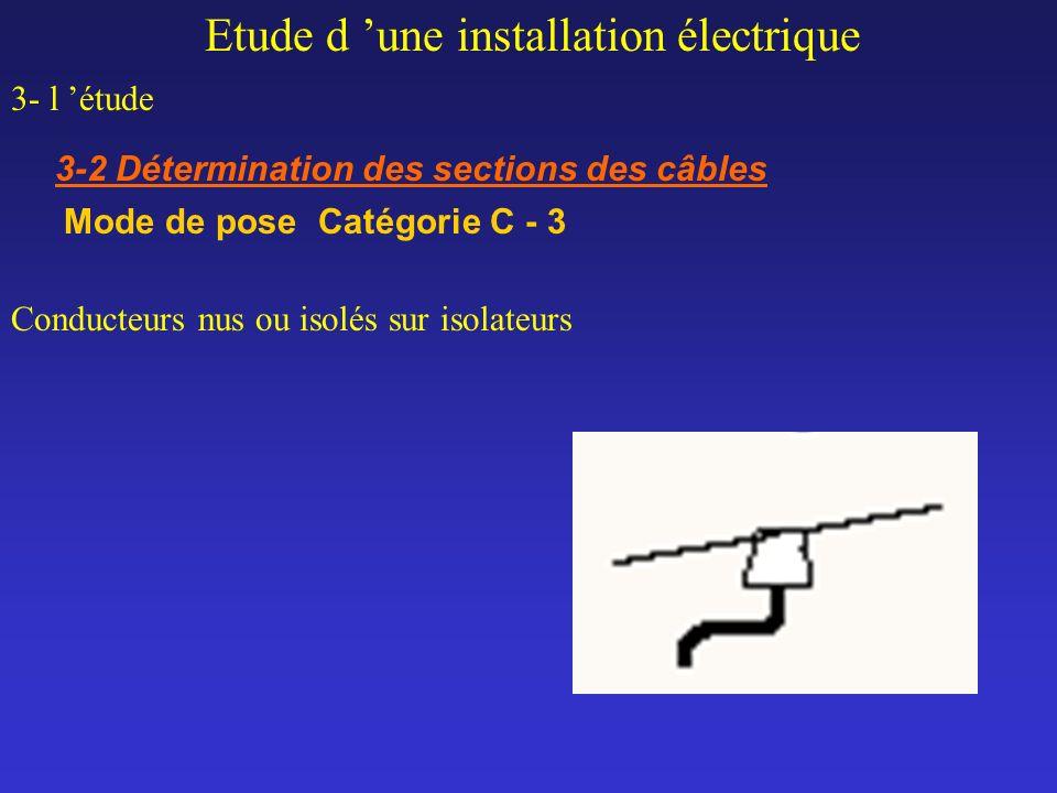 Etude d une installation électrique 3- l étude 3-2 Détermination des sections des câbles Mode de pose Catégorie C - 3 Conducteurs nus ou isolés sur is