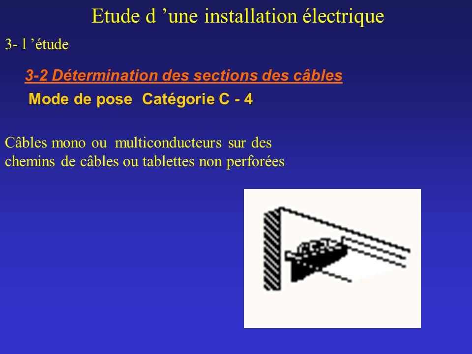 Etude d une installation électrique 3- l étude 3-2 Détermination des sections des câbles Mode de pose Catégorie C - 4 Câbles mono ou multiconducteurs
