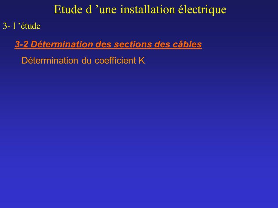 Etude d une installation électrique 3- l étude 3-2 Détermination des sections des câbles Détermination du coefficient K