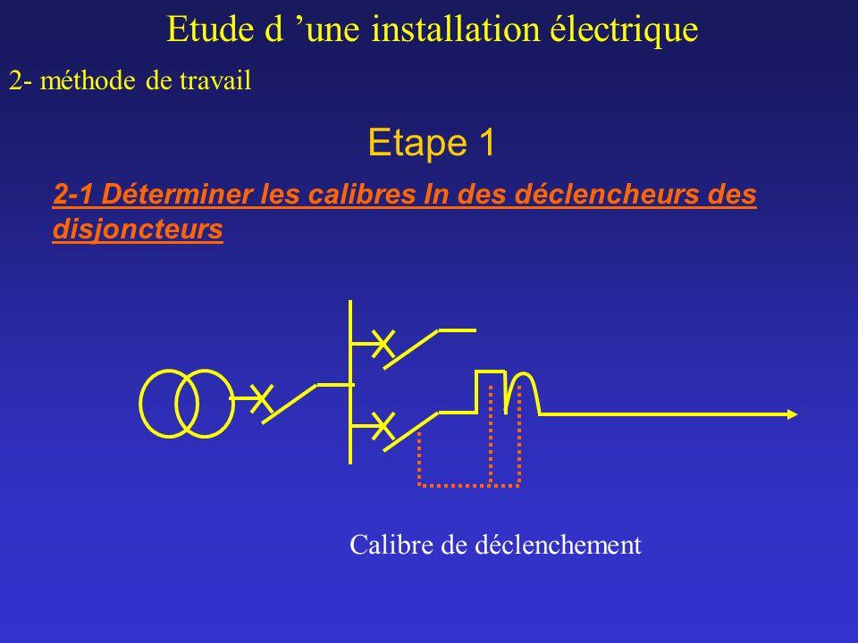 Etape 1 Etude d une installation électrique 2- méthode de travail 2-1 Déterminer les calibres In des déclencheurs des disjoncteurs Calibre de déclench